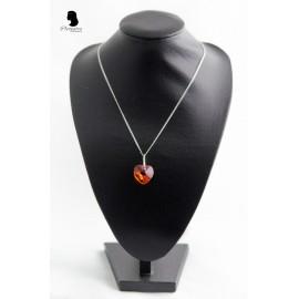Colier inima Swarovski portocaliu