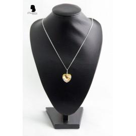 Colier inima Swarovski cu reflexii aurii